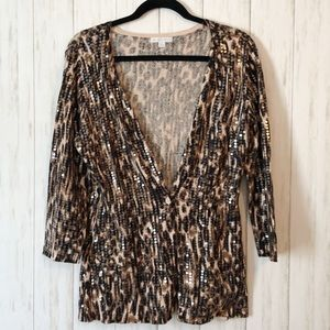 New York & Company Animal Print Sequin Sweater